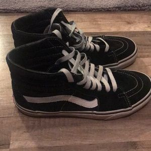 Vans black and white hi top sneakers